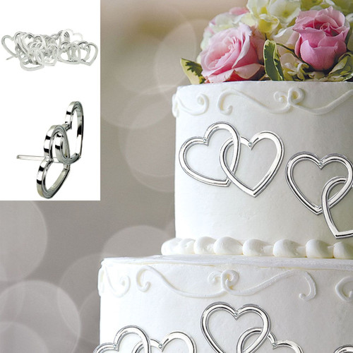 Silver Heart Wedding Cake Pick Decorations