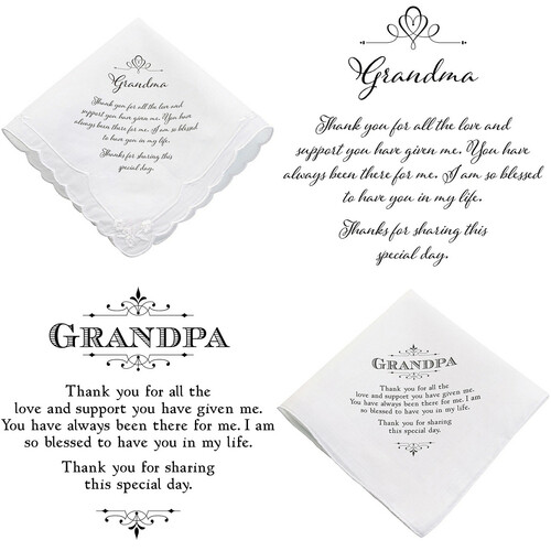 Grandma or Grandpa Wedding Handkerchief Favour Gift