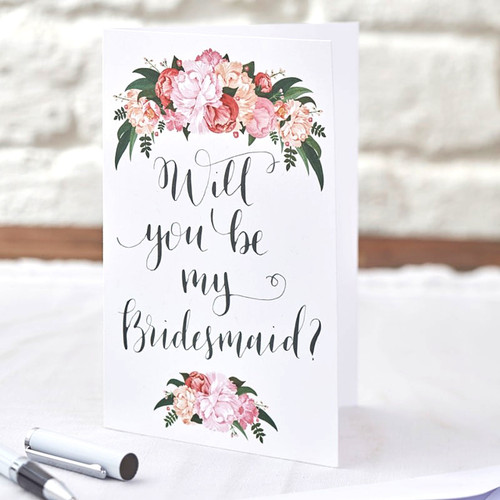 Will You Be My Bridesmaid Card Floral
