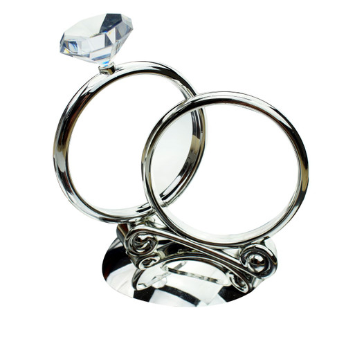 Silver Rings with Gem Diamond Cake Topper or Centrepiece Decoration