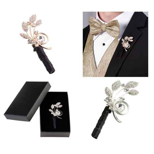 Wedding Rhinestone Boutonniere Groom Accessory
