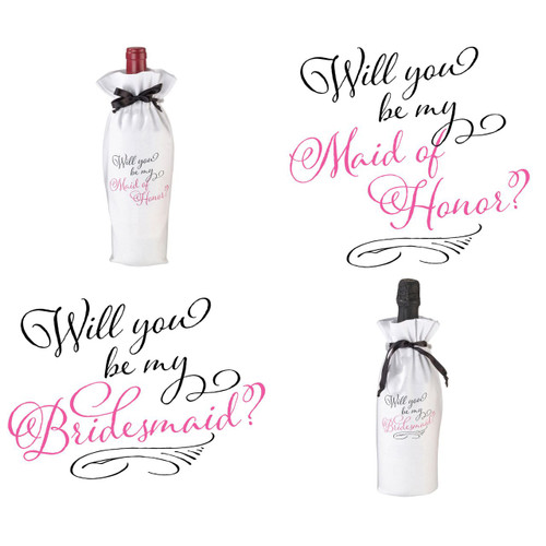 Will You Be My Maid of Honor or Bridesmaid Wine Bottle Bag Favour Gift