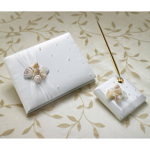 Beach Sea Shell Wedding Guest Book and Pen Set
