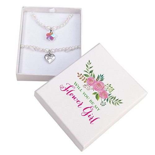 Will You Be My Flower Girl Necklace and Bracelet Gift Set