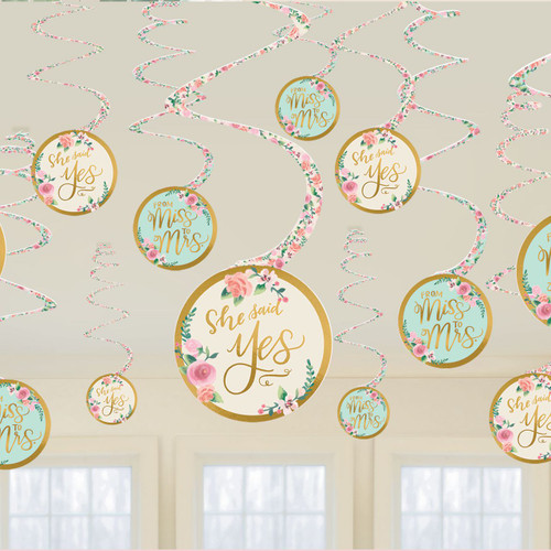 Bridal Shower or Hens Night Hanging Swirl Decorations