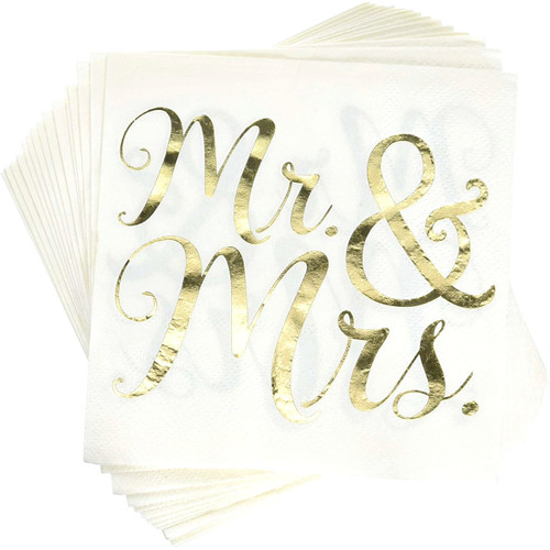 Mr and Mrs Gold Foil Beverage Napkins