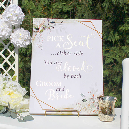 Pick a Seat Either Side Wedding Seating Sign