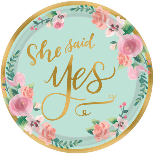 She Said Yes Small Bridal Shower Plates