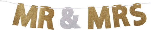 Mr and Mrs Glitter Hanging Bunting Banner Decoration