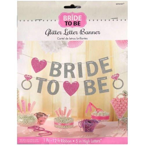 Bride To Be Glitter Hanging Bunting Banner Decoration