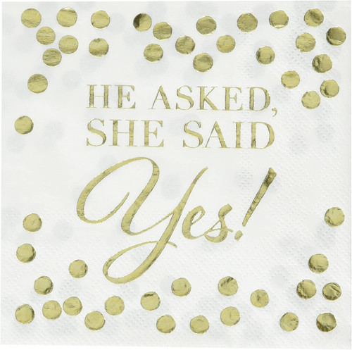 He Asked She Said Yes Gold Foil Beverage Napkins