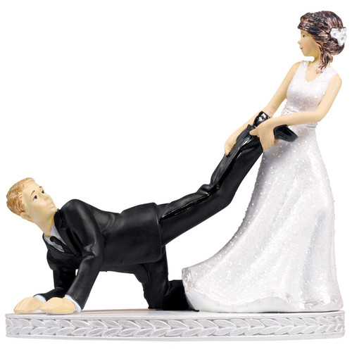 Bride and Groom Leg Puller Cake Topper