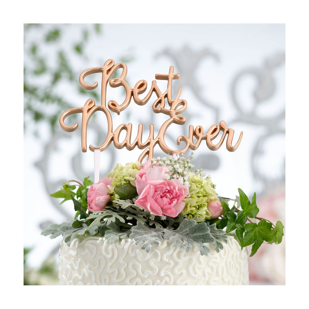 Gold Best Day Ever Wedding Cake Topper
