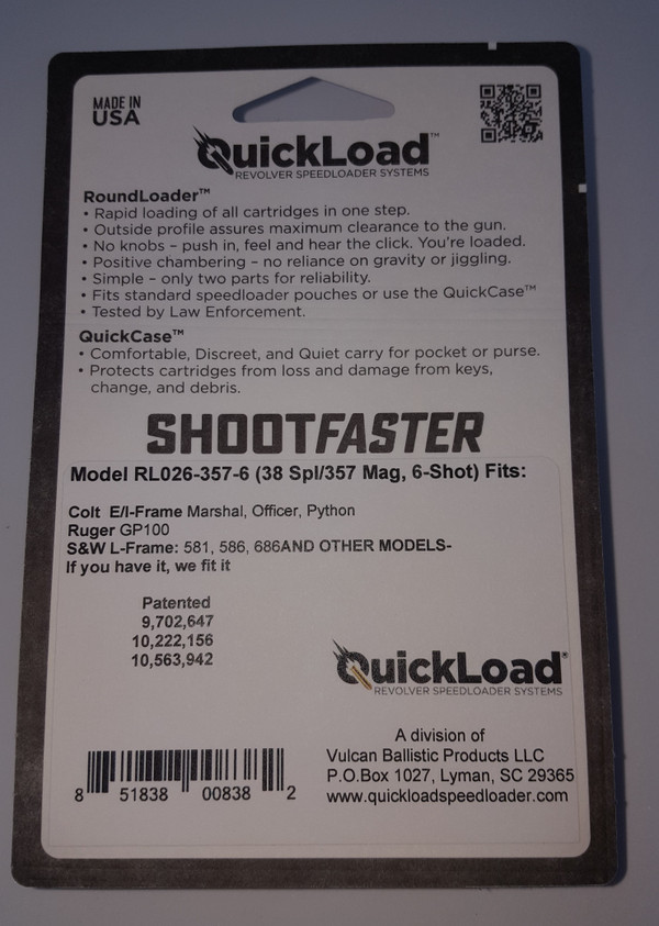 RL026-357-6 (38 cal 6-shot) QuickLoad(R) RoundLoader(TM)