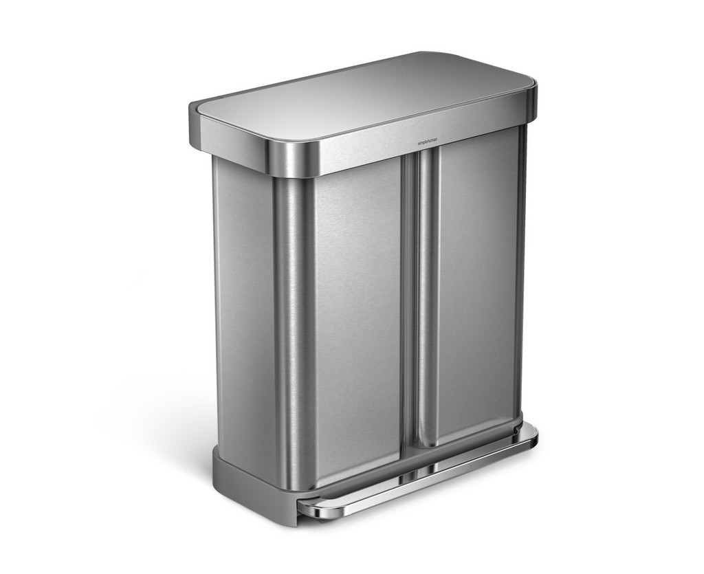 simplehuman Dual Compartment Pedal Bin With Liner Pocket 58 Litre (34/24), Brushed Steel