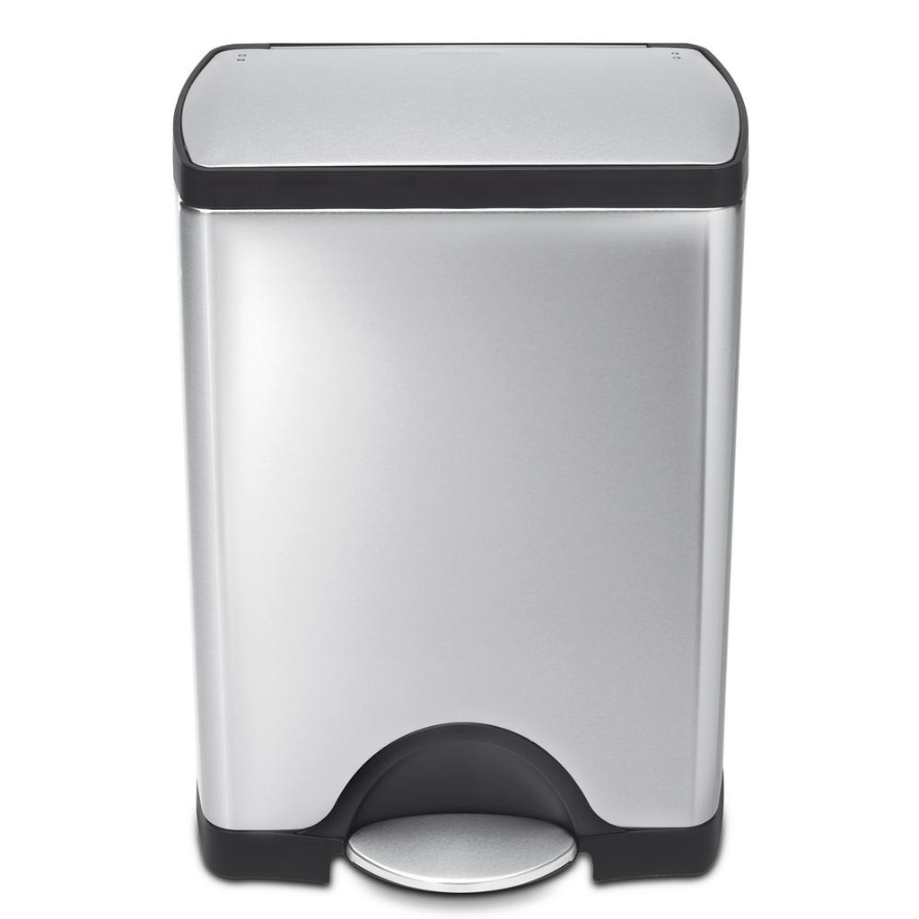 simplehuman Rectangular Pedal Bin 30 Litre, Brushed Steel