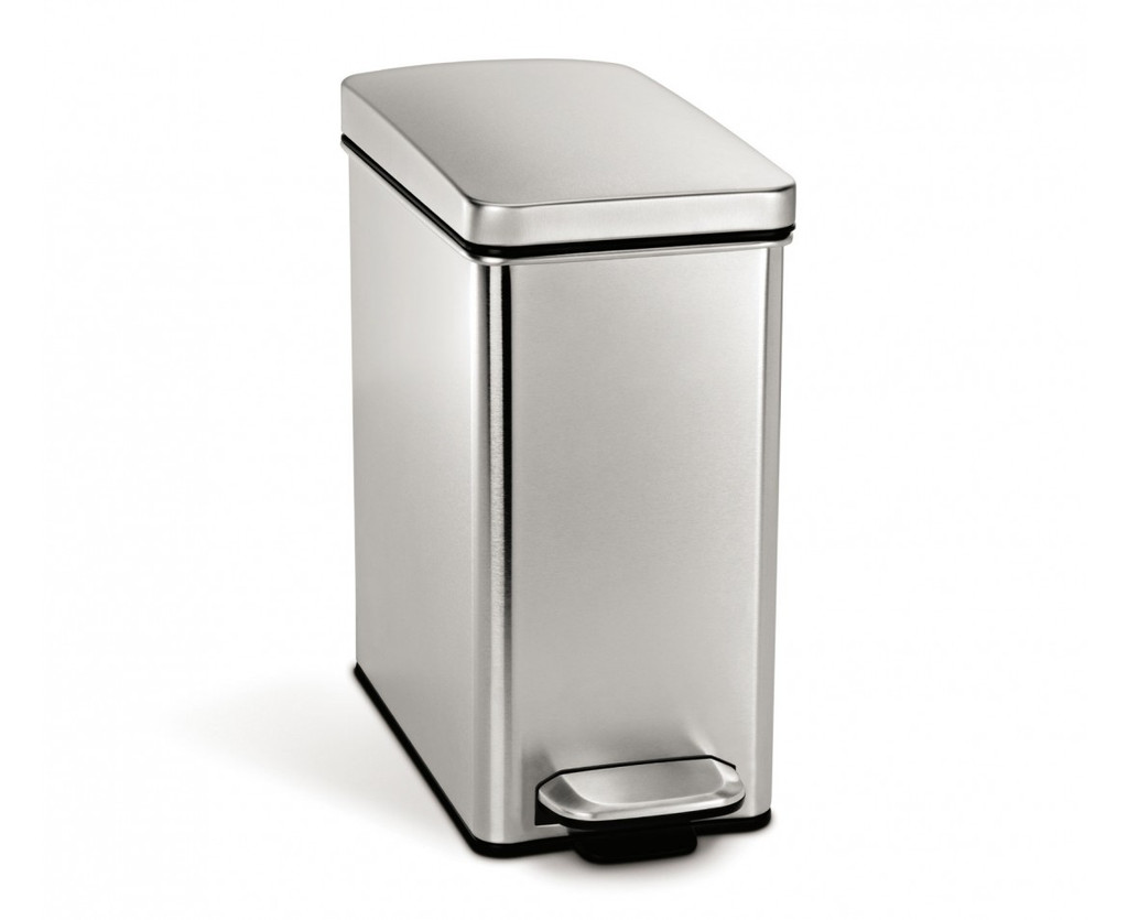 simplehuman Profile Pedal Bin With Plastic Lid 10 Litre, Brushed Steel