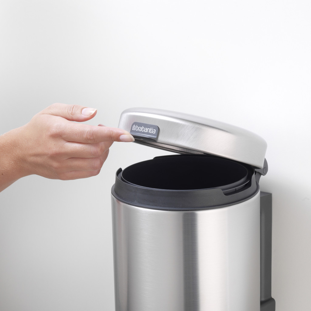 Brabantia Wall Mounted Bin newIcon 3 litre Plastic Bucket - Matt Steel