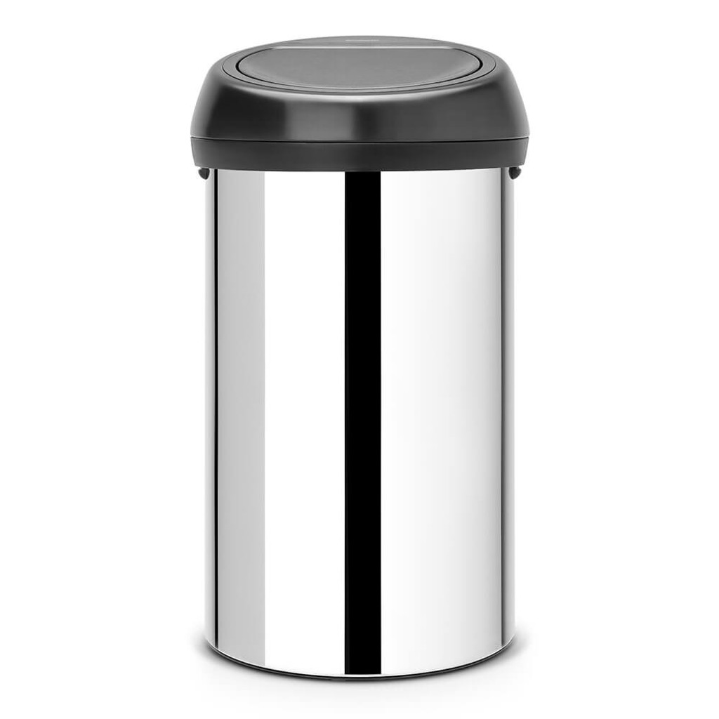 Brabantia Touch Bin 60 litre - Brilliant Steel / Matt Black Lid