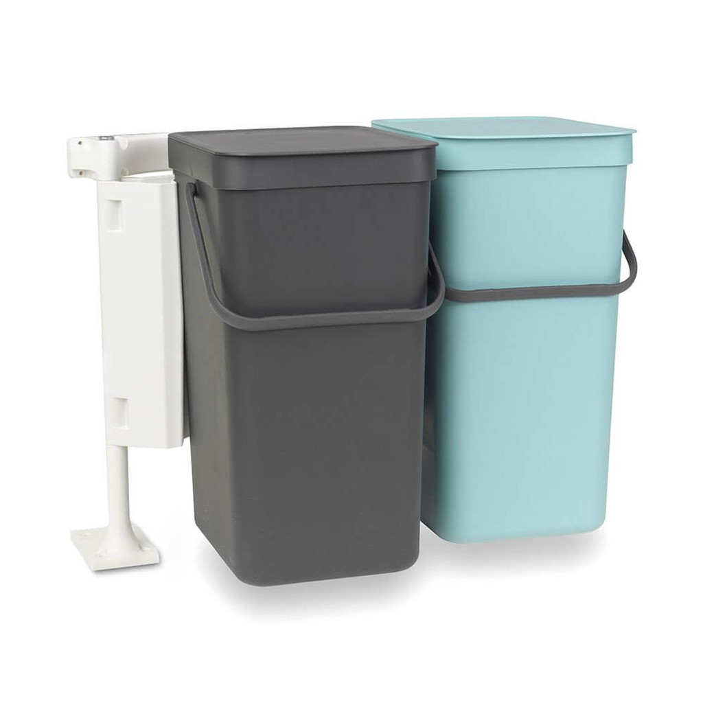 Brabantia Built in Bin 'Sort & Go' 2 x 16 litre - Mint & Grey