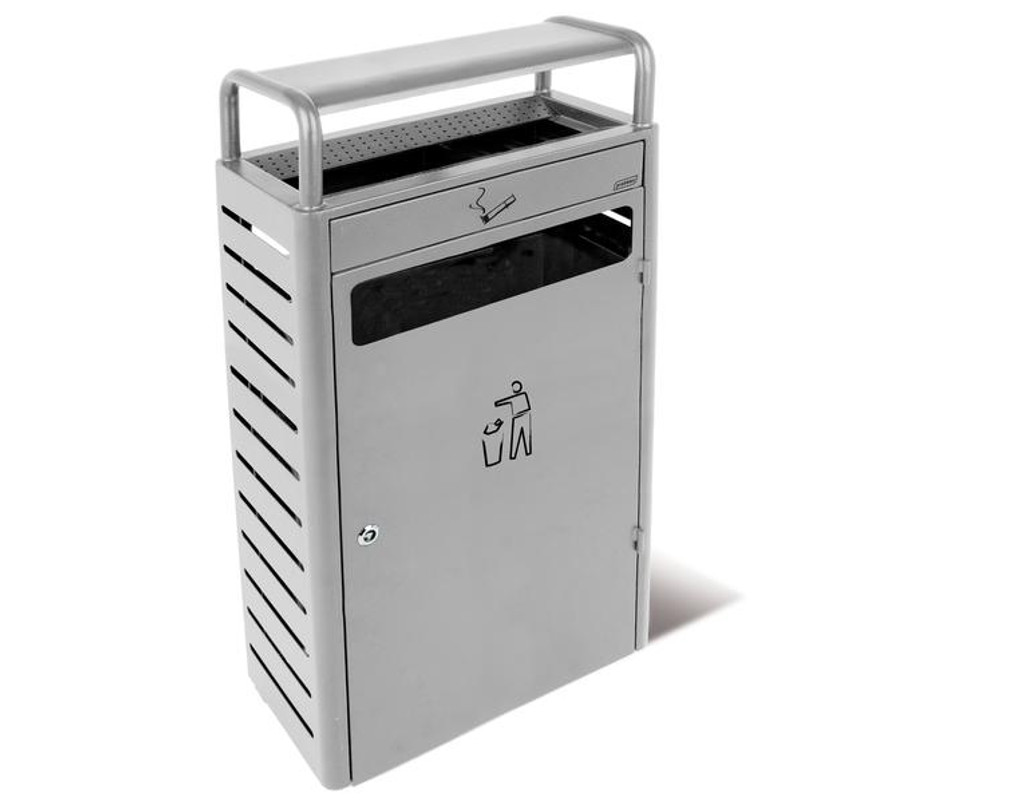 Probbax Stand Alone Ash/Trash Container (With 5,9 + 43L Liners) - Silver