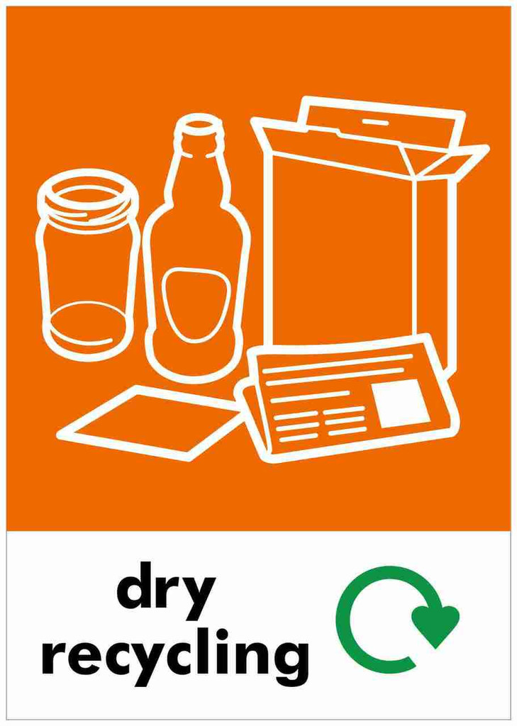 Large A4 Waste Stream Sticker - Dry Recycling