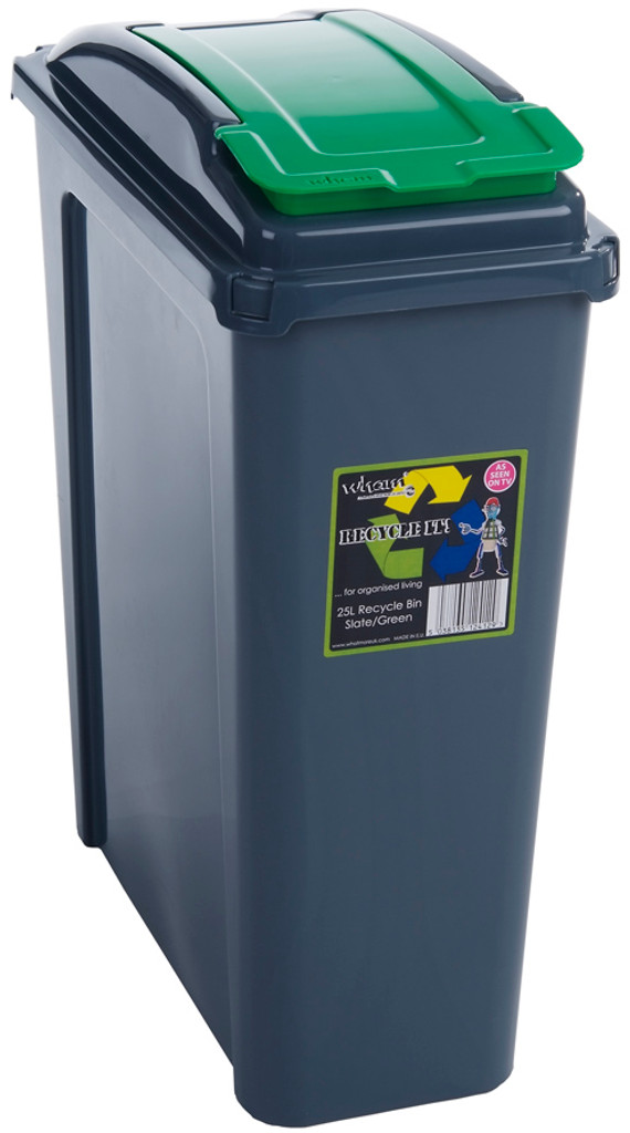 wham Recycle It 25L Slimline Bin & Lid Graphite/Gen. Green