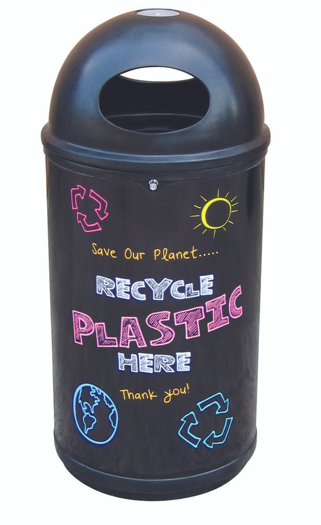 Theme Bins Classic with Plastic Blackboard Recycling Graphics for Indoor & Outdoor Use - 90 Litres