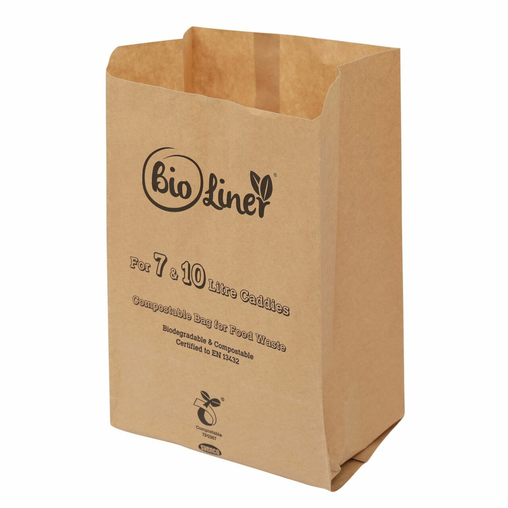 All-Green Bioliner Compostable Paper Caddy Bags - 7/10 Ltr