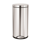 simplehuman Round Pedal Bin 30 Litre, Brushed Steel