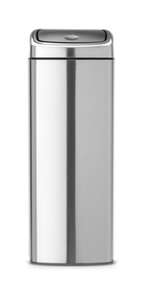 Brabantia Touch Bin 25 litre Rectangular Plastic Bucket - Matt Steel Fingerprint Proof