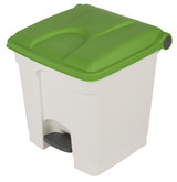 Probbax Step-On Container 30L - White (Body)/Green (Lid)