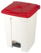 Probbax Step-On Container 45L - White (Body)/Red (Lid)