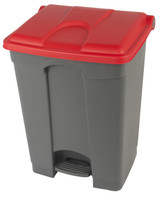 Probbax Step-On Container 70L - 18 1/2 Gal - Grey (Body)/Red (Lid)