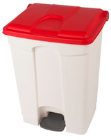 Probbax Step-On Container 70L - 18 1/2 Gal - White (Body)/Red (Lid)