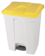 Probbax Step-On Container 70L - 18 1/2 Gal - White (Body)/Yellow (Lid)