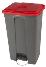 Probbax Step-On Container 90L - Grey (Body)/Red (Lid)