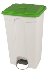 Probbax Step-On Container 90L - White (Body)/Green (Lid)