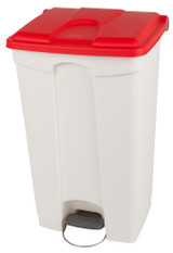 Probbax Step-On Container 90L - White (Body)/Red (Lid)