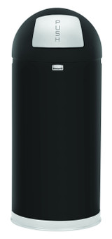Rubbermaid Easypush Bin With Galvanised Liner 56 L - Black