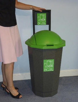 Beca Eco 'Mixed Recyclables' Bank (Granite Base, Green Top) - 75 litres