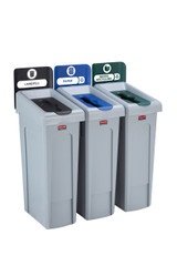 Rubbermaid Slim Jim Recycling Station Bundle 3 Stream - Landfill (black)/ Paper (blue)/ Mixed Recycling (green) (2057606)