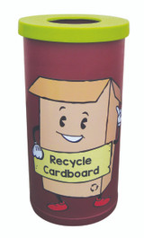 Theme Bins Popular with Cardboard Recycling Graphic for Indoor Use - 70 Litres