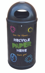 Theme Bins Classic with Paper Blackboard Recycling Graphics for Indoor & Outdoor Use - 90 Litres