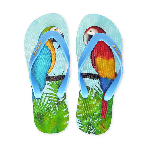 Parrots Natural Rubber Flip Flops beachcomber blue water flamingo flip flops