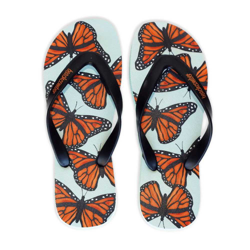 Monarch Butterflies Natural Rubber Flip Flops beachcomber blue water flamingo flip flops