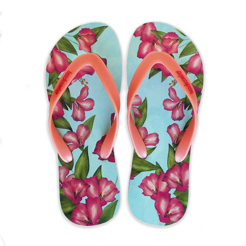 Azalea's Natural Rubber Flip Flops beachcomber blue water flamingo flip flops