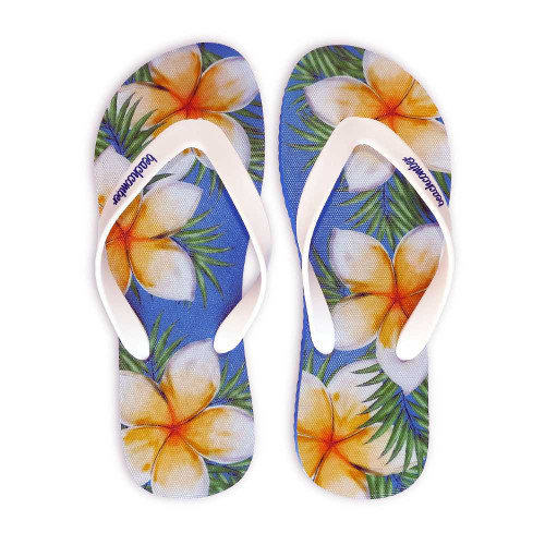 Plumeria Natural Rubber Flip Flops beachcomber blue water flamingo flip flops