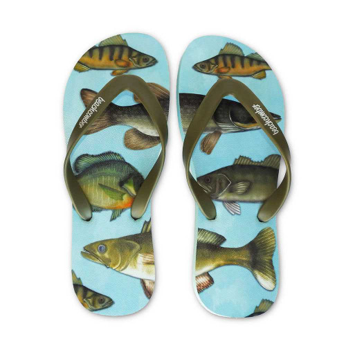 Freshwater Fish Natural Rubber Flip Flops beachcomber blue water flamingo flip flops