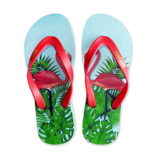 Flamingos Natural Rubber Flip Flops beachcomber blue water flamingo flip flops